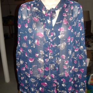Express Tops - Express Small Navy Floral Button Up blouse euc